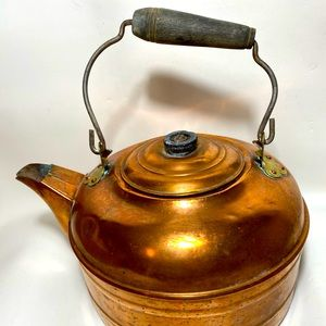 Vintage Farmhouse Rustic Copper Tea Kettle Pot